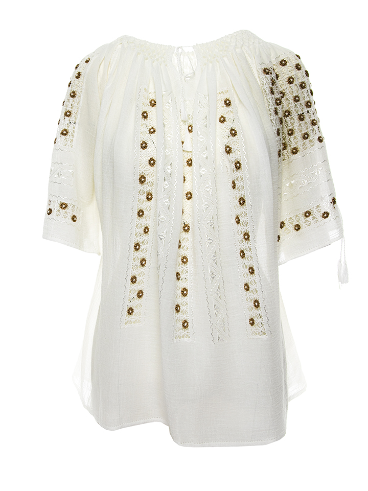 Romanian Original Peasant Blouse Short Sleeved Traditional Folk Mustard Gold Floral Embroidery Handmade By Artisans