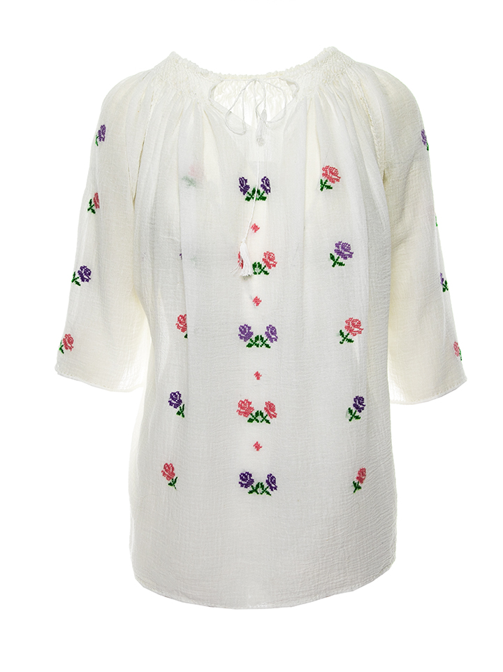 Romanian Peasant Top Multicolor roses Embroidery Handmade By Artisans