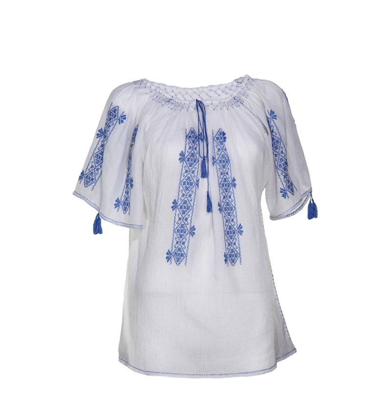 Romanian short sleeves artisan blouse