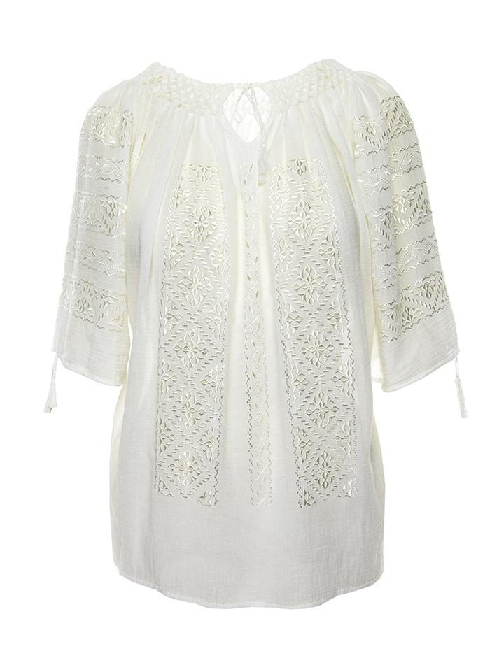 Romanian silk short sleeved embroidered white linen cloth gauze Eva