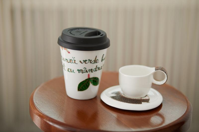 Romanian Souvenir Handpainted Coffee Mug