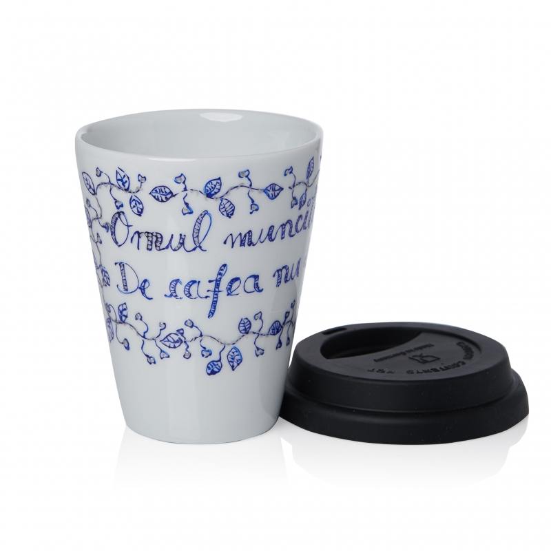 Romanian Souvenir Handpainted Coffee Mug Blue