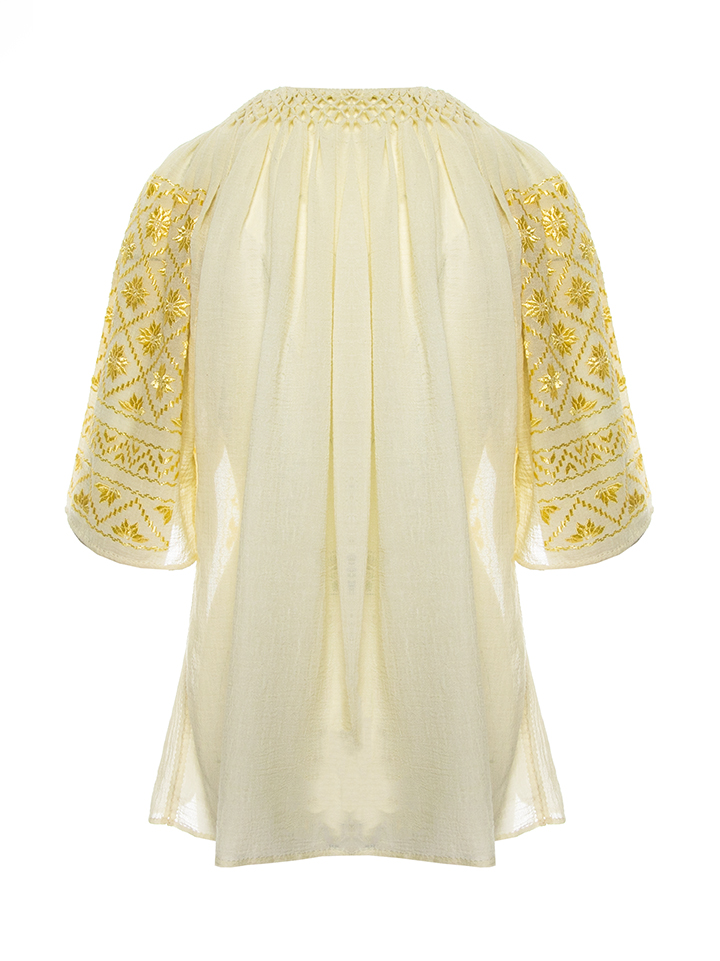 Romanian Traditional Blouse Golden Thread silk embroidery