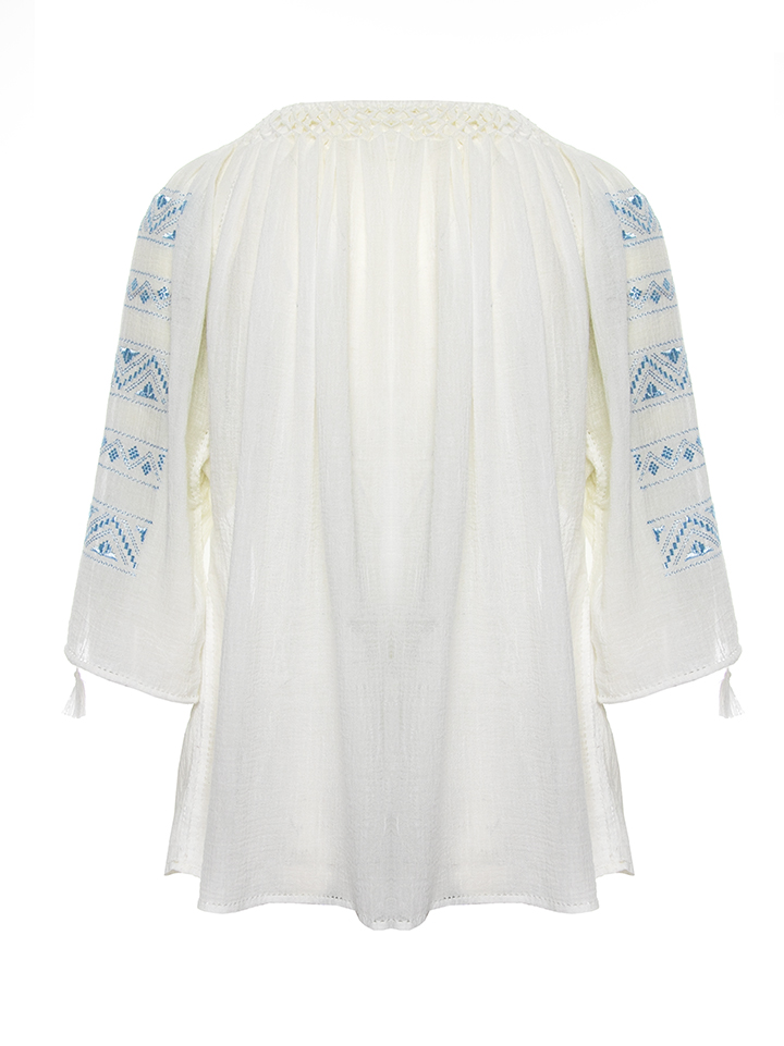 Romanian traditional blouse silk embroidery in blue ciel