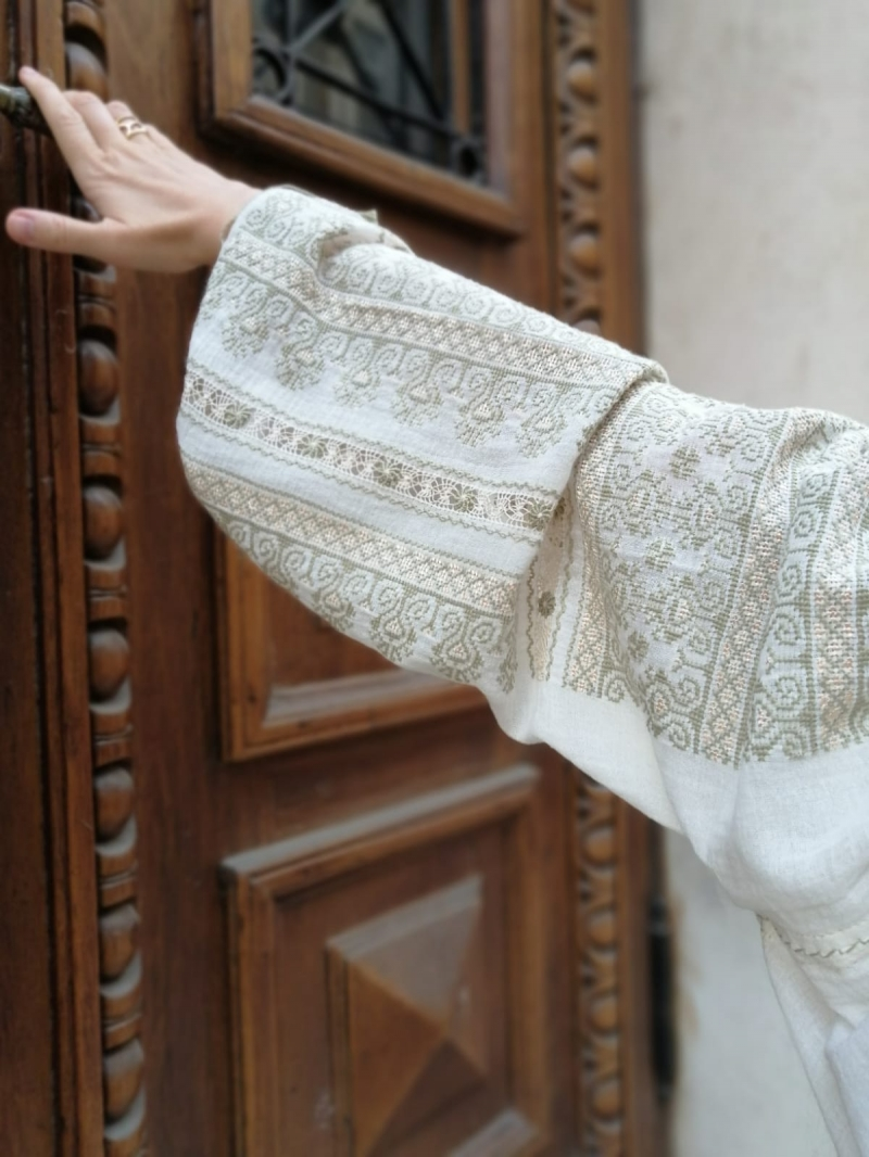 Romanian traditional cotton and silk embroidered linen gauze