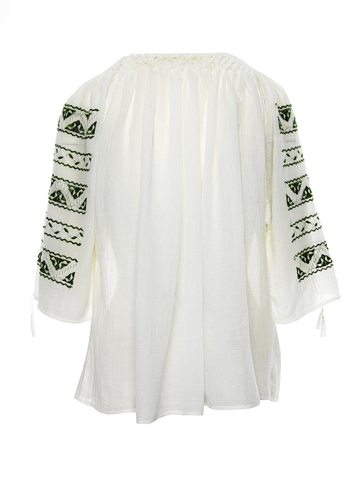 Romanian traditional 3/4 sleeves  silk embroidered peasant top made by hand by artisans of Romania