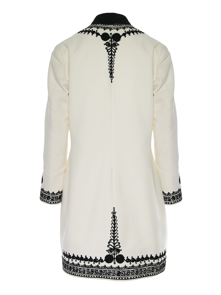 Romanian Wool Coat off White broadcloth Wool made by artisans