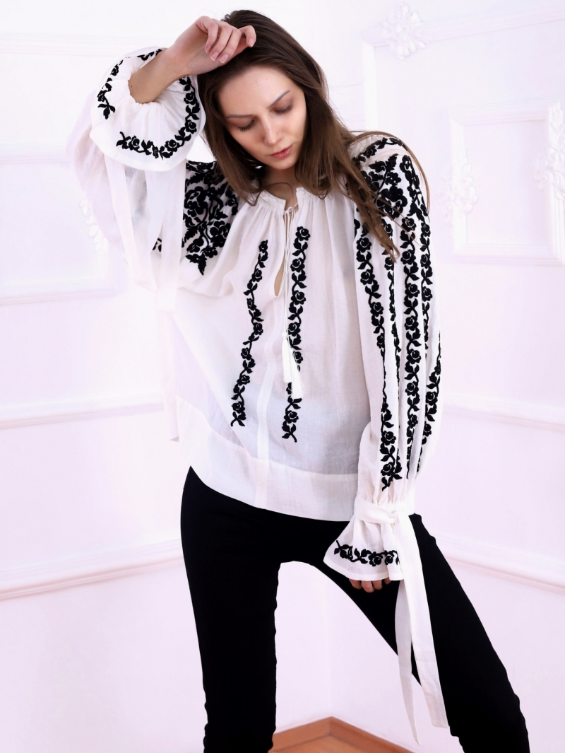 Roses Blouse Folk Embroidered Top Black embroidery on white fabric FLORII
