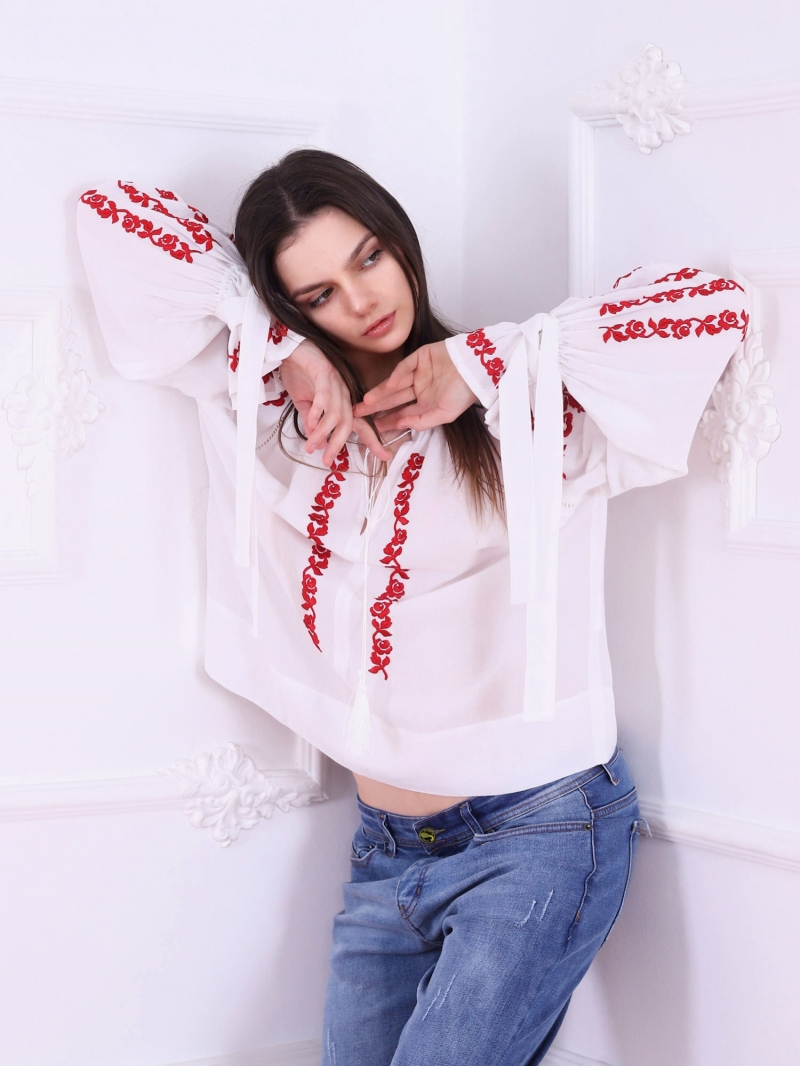 Roses Blouse Folk Embroidered Top Red Embroidery On White Fabric FLORII
