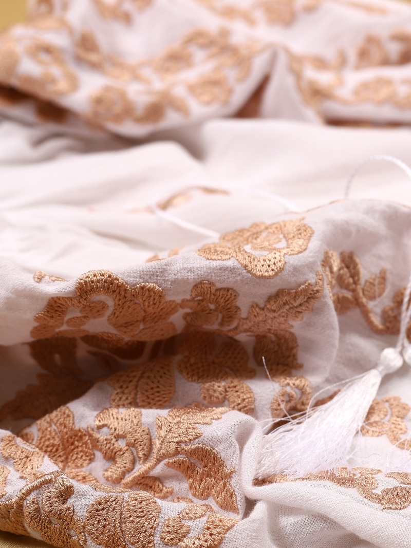 Roses Blouse Folk Embroidered Top White Embroidery On White Fabric FLORII