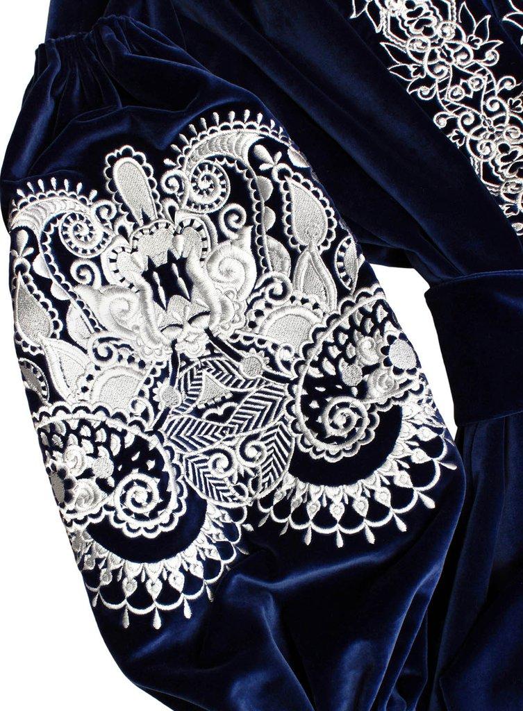 Royal blue velvet bohemian luxe dress wih silver embroidery Kaftan Saffron