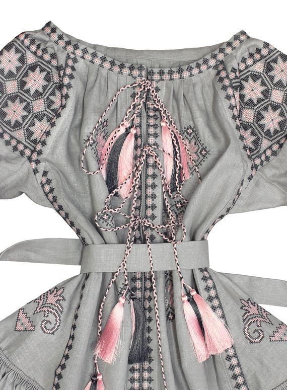 Short gray embroidered ukrainian dress vyshyvanka - bohemian style folk linen ethnic dress