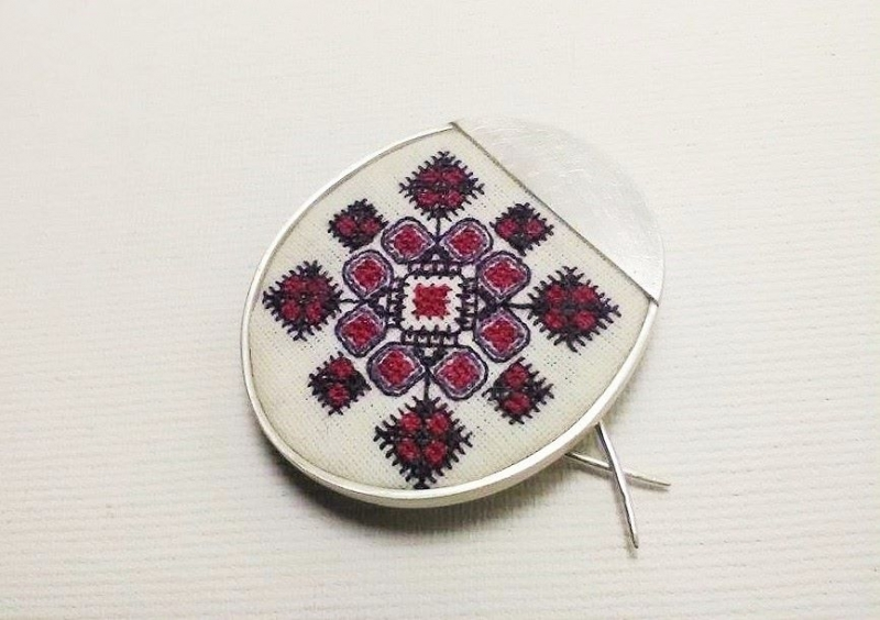 Silver brooch with hand sewn traditional symbol - traditional Romanian folklore motif from Banat- ethnic traditional jewelry