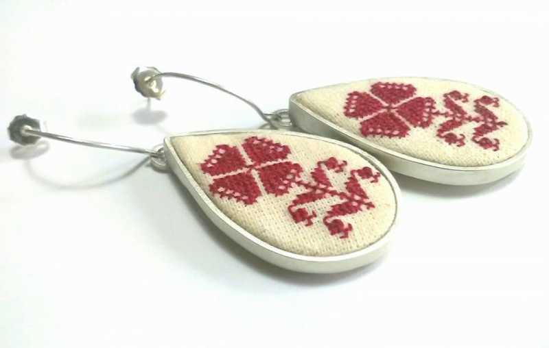 Silver earring traditional motifs handsewn symbol Bucovina 100% handmade