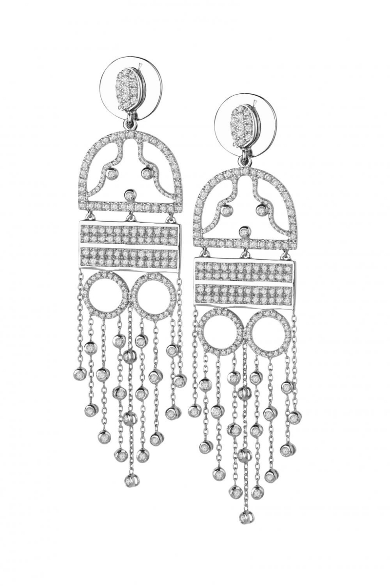 Silver earrings The woman in night dress gold