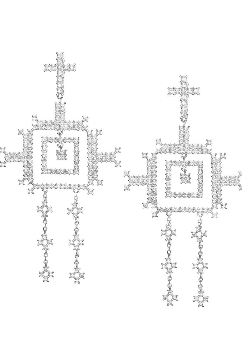 Cercei din argint cu motive traditionale romanesti Badea alb