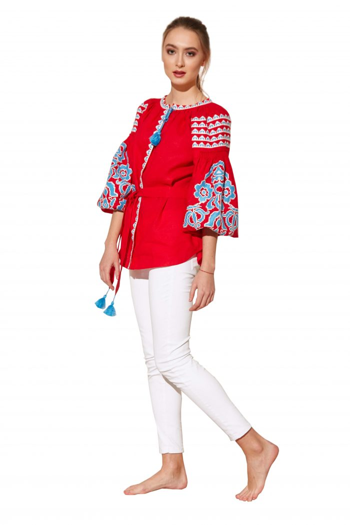 Sophie Linen Embroidered Blouse Bazena