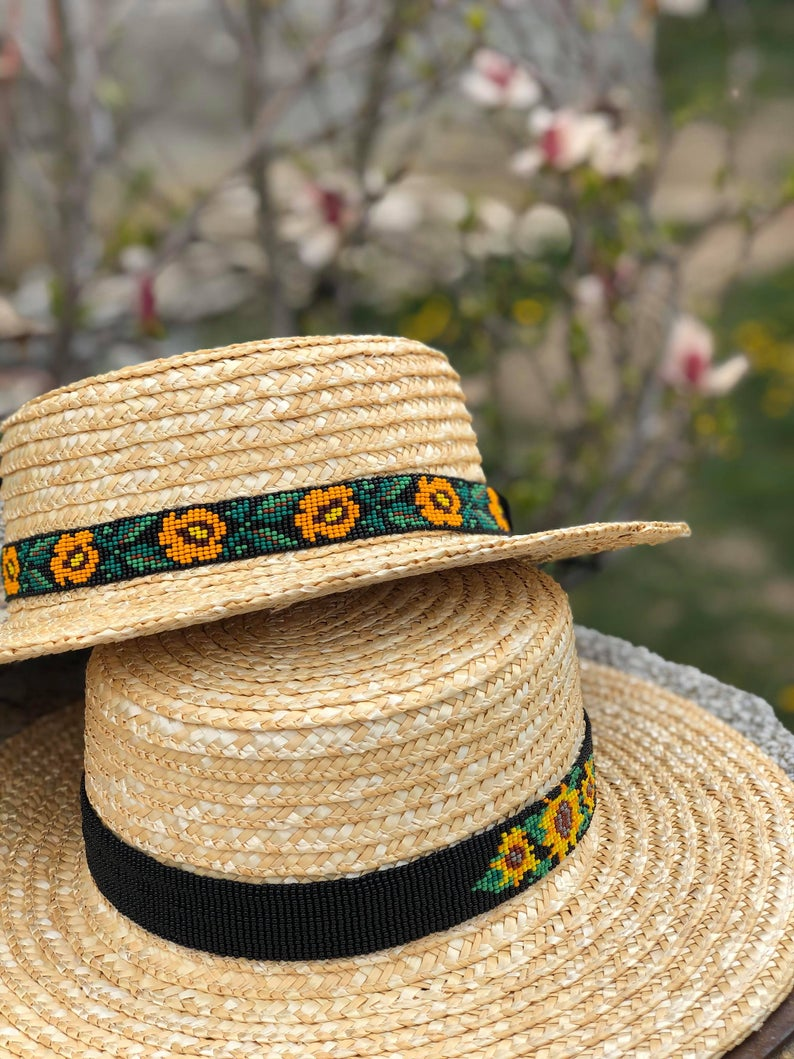 Straw Hat With Traditional Beads Details Ie De Maramu