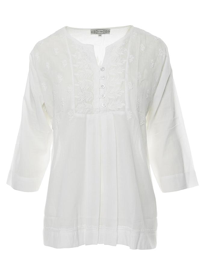 Bluza tip ie stilizata  bumbac alb cu broderie alba Claudia Florentina model 1