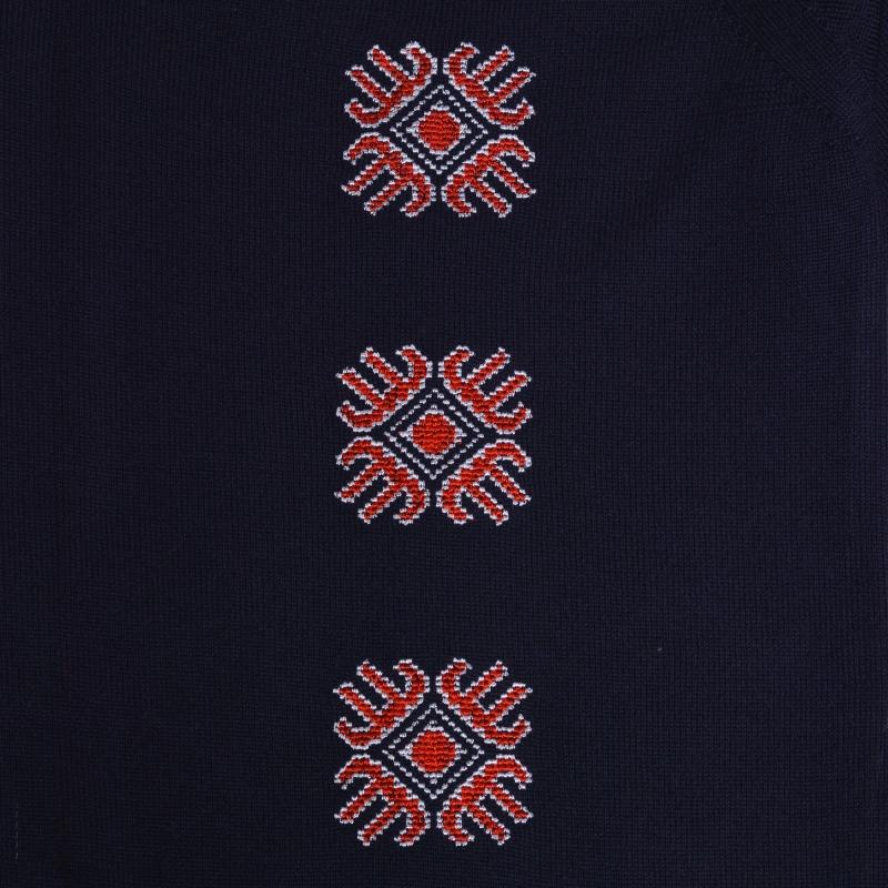 Pulover brodat cu motive romanesti bleu marin Floare de mai Alisia Enco