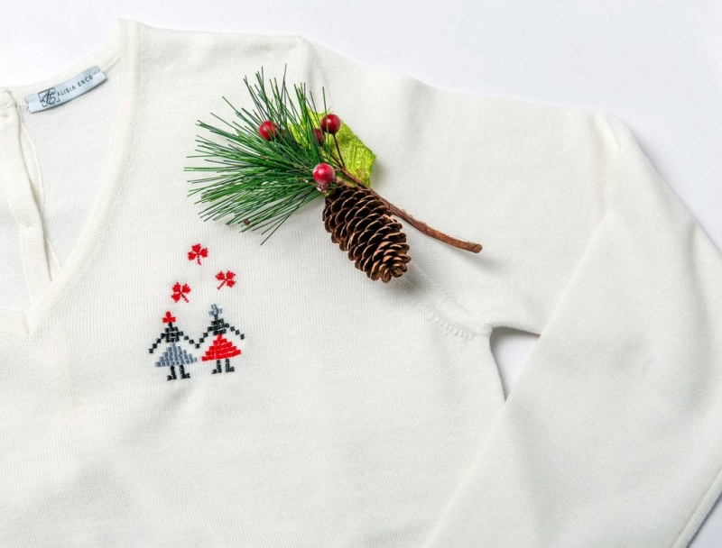 White Sweater With Embroidered Motifs  Alisia Enco