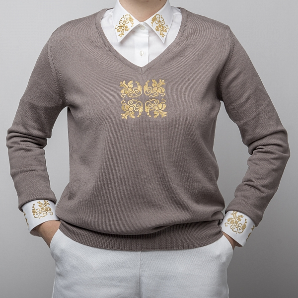 Sweater With Embroidered Motifs In Grey  Alisia Enco