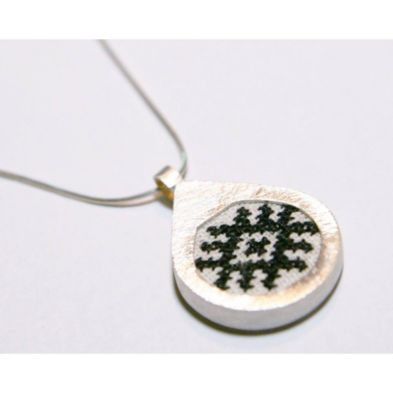 Tear silver handmade pendant