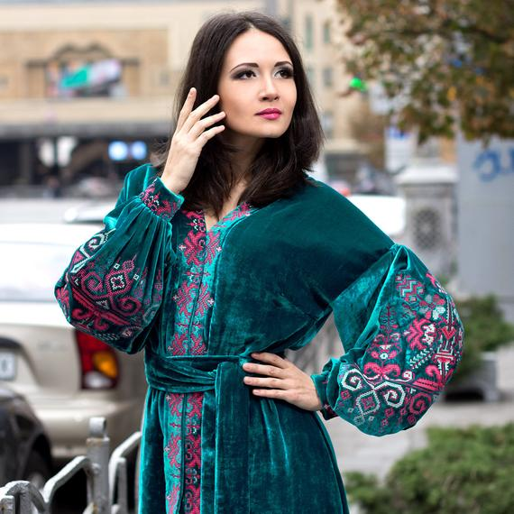 Velvet turquoise embroidered dress with ancient ukrainian geometric pattern - cross stitch vyshyvanka - free shipping - kaftan abaya robe