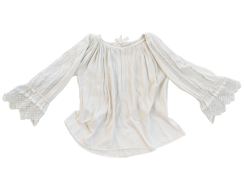 Vintage Bell Sleeves Needlework Blouse