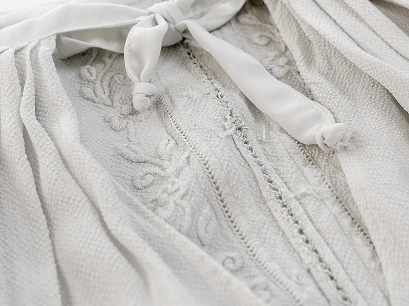 Vintage Bell Sleeves Needlework Blouse
