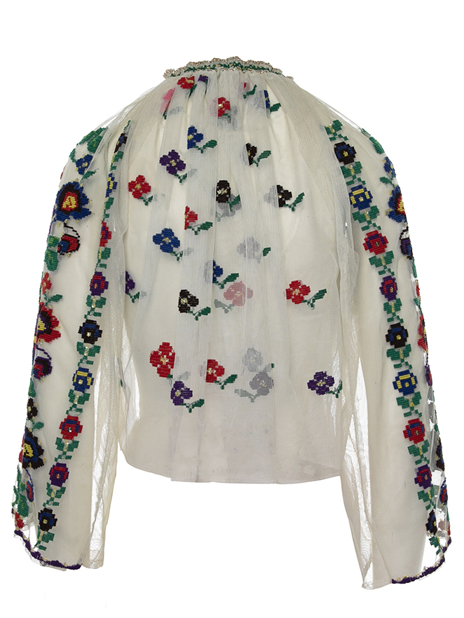 Vintage embroidered Romanian blouse on tulle with folk flower pattern handmade Lot. 21.05