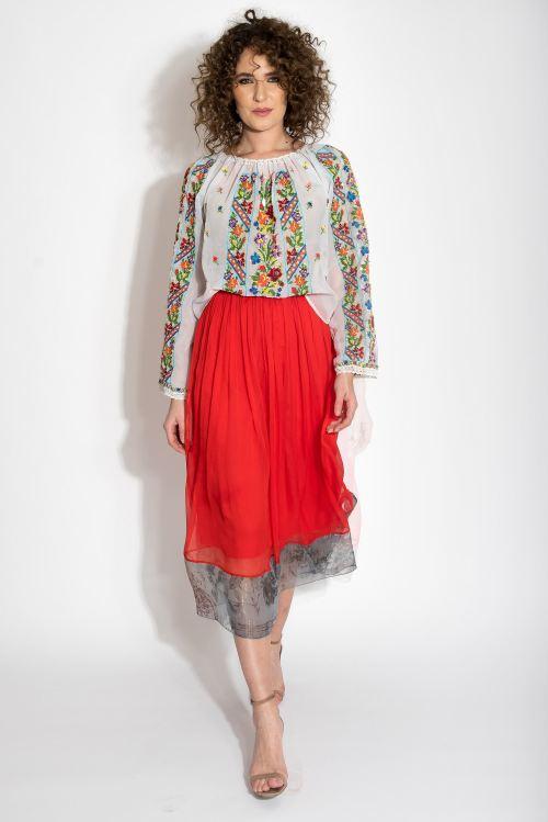 Vintage floral embroidery Romanian blouse Izabela Mandoiu