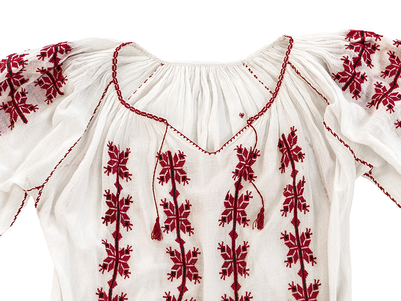 Vintage Peasant Red Embroidered Blouse