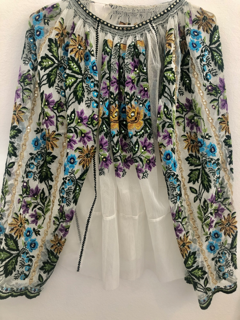 Vintage tulle embroidered Romanian blouse handmade with floral patterns beads and sequins