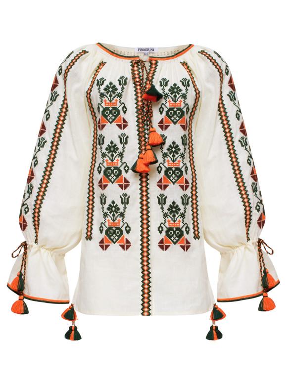 Bluza boema brodata cu motive etnice