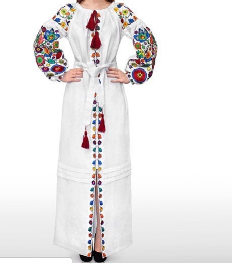 White linen long dress with floral embroidery - maxi ethnic folk Ukrainian dress vyshyvanka - 100% natural linen - kaftan abaya robe