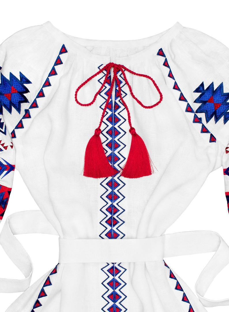 White linen maxi dress vyshyvanka - ethnic folk ukrainian dress - bohemian style  natural linen