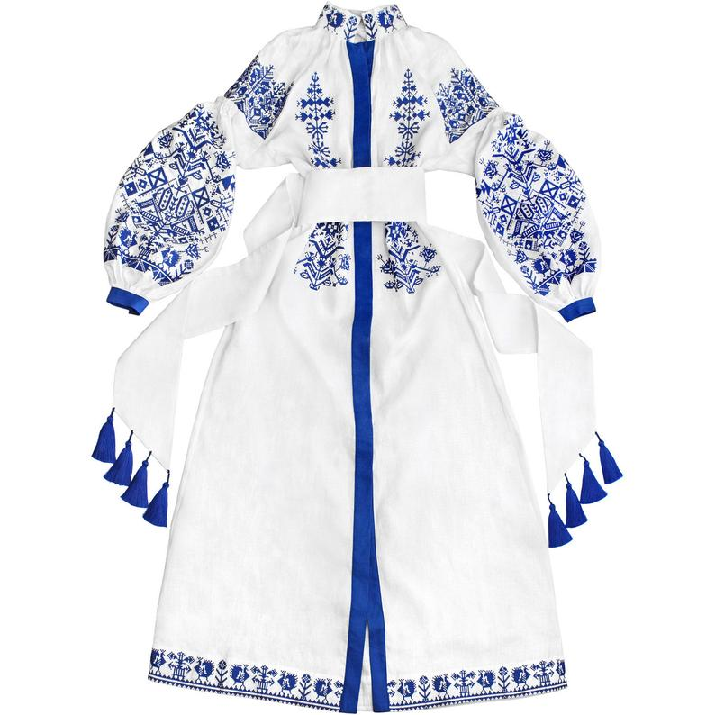 White long linen dress with ancient geometric pattern - kaftan abaya robe - ukrainian ethnic folk dress vyshyvanka  SOLD