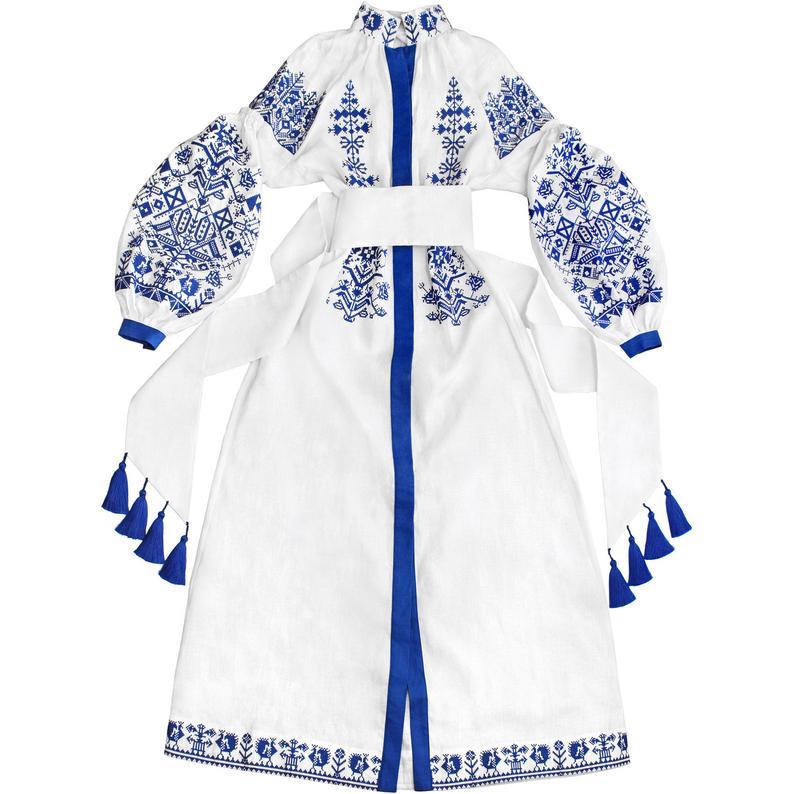 Rochie broderie albastra-model vyshyvanka- caftan abaya -SOLD