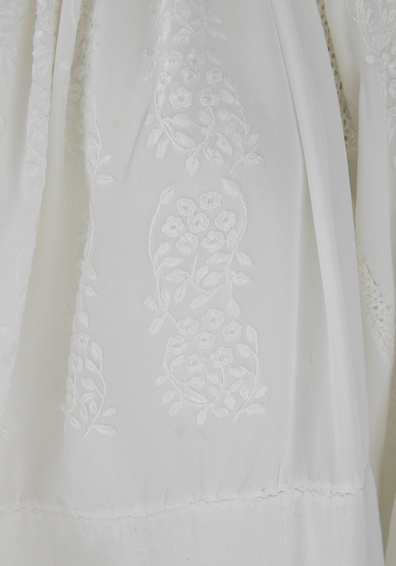 XX century Sheer white Vintage silk embroidered Romanian dress on white marquissette and linen cloth