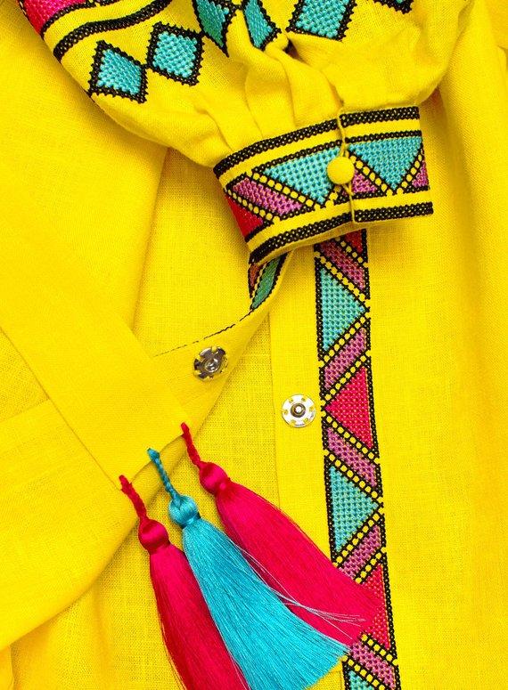 "Yellow short embroidered dress vyshyvanka ""Forest Song"" ethnic Ukrainian folk dress - bohemian style 100% natural linen"