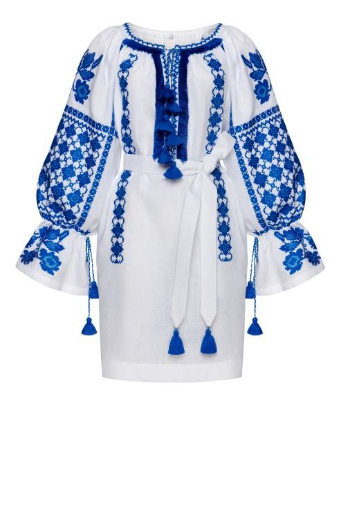 Tunica Zoryana alba cu broderie albastra Foberini