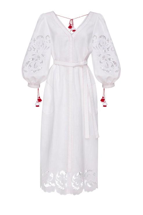 Iris Richelieu Linen Embroidery Midi Dress In White Foberini